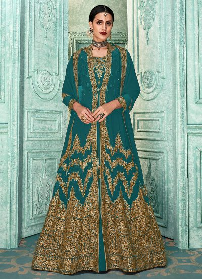 Teal and Gold Embroidered Jacket Style Anarkali
