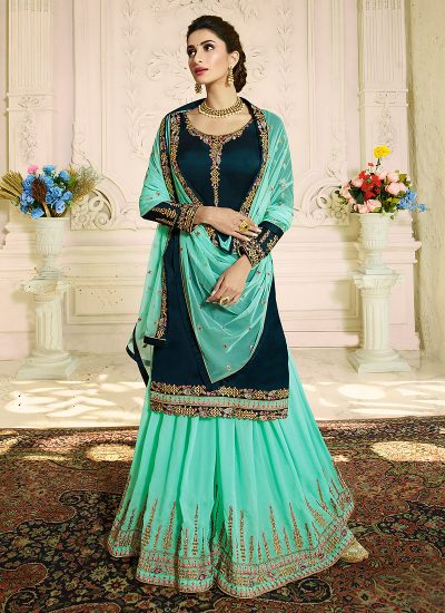 Black and Aqua Green Embroidered Palazzo Suit