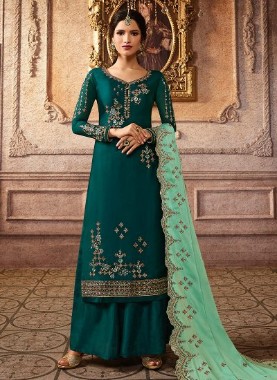 Teal Green and Gold Embroidered Palazzo Suit