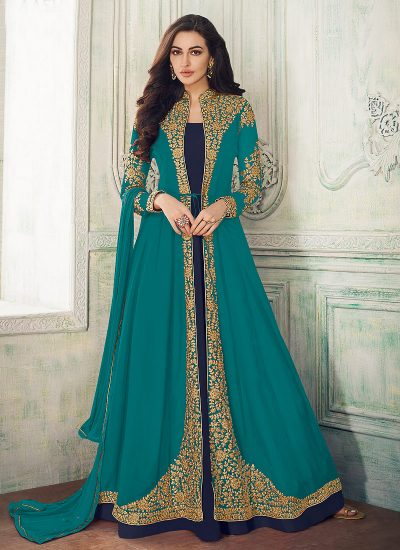 Teal and Blue Embroidered Jacket Style Anakali
