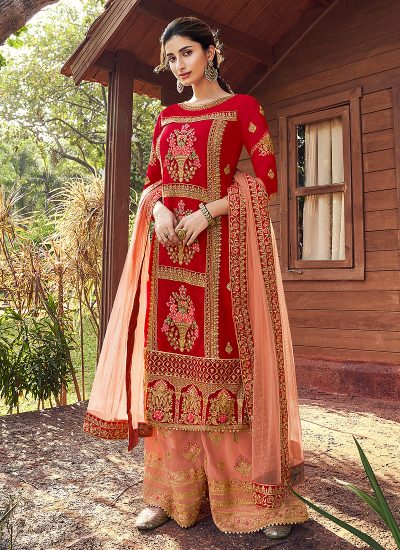 Red and Peach Embroidered Palazzo Suit