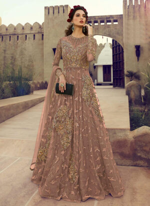 Blush Nude Embroidered Anarkali Gown