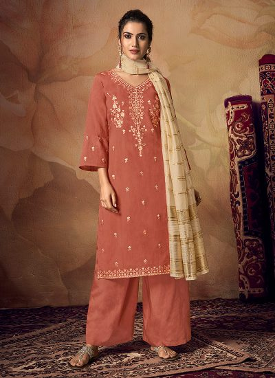 Light Red Embroidered Palazzo Suit