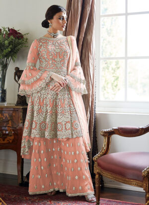 Light Pink Embroidered Sharara Suit