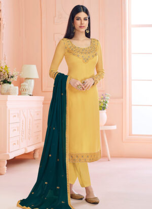 Yellow and Teal Embroidered Straight Cut Suit
