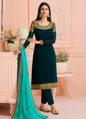 Teal Blue Embroidered Straight Cut Suit