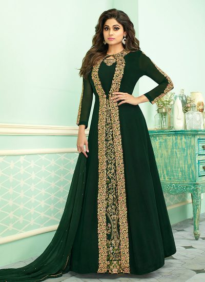 Green and Gold Embroidered Jacket Style Anarkali