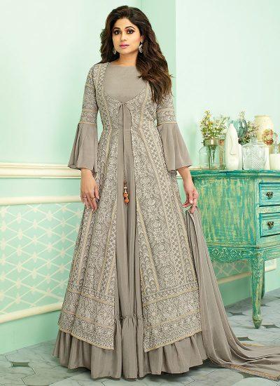 Grey Embroidered Jacket Style Anarkali