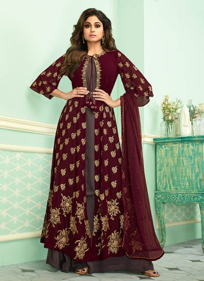 Maroon and Grey Embroidered jacket style Palazzo Suit