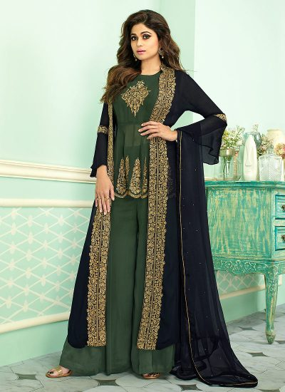 Blue and Green Embroidered jacket style Palazzo Suit