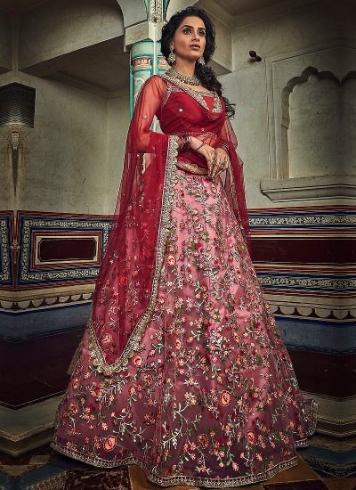 Red and Peach Embroidered Lehenga