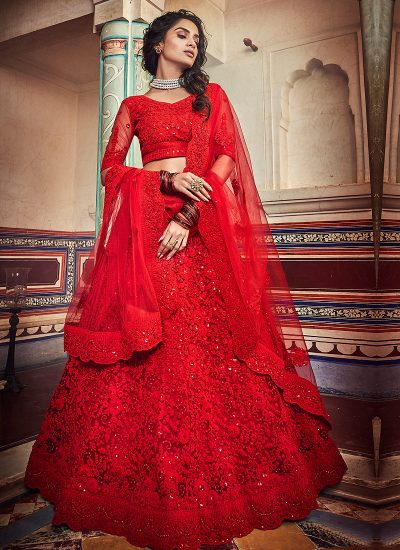 Red Floral Embroidered Lehenga