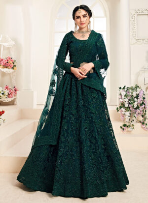 Dark Green Heavy Embroidered Lehenga