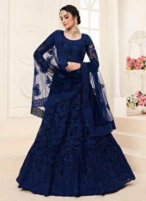Dark Blue Heavy Embroidered Lehenga