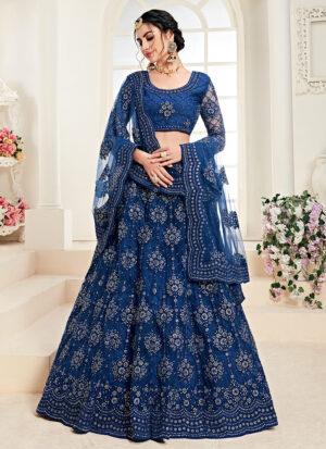 Blue Heavy Embroidered Lehenga