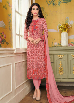 Light Pink Embroidered + Printed Straight Pant Suit