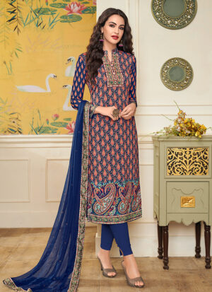 Blue Embroidered + Printed Straight Pant Suit