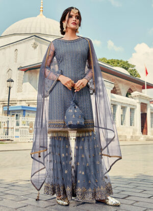 Blue Grey and Gold Embroidered Gharara Suit