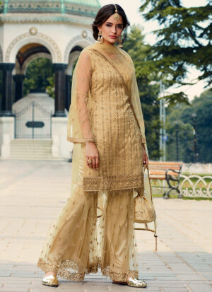 Golden Beige Embroidered Gharara Suit