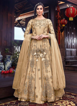 Cream and Gold Embroidered Jacket Style Anarkali