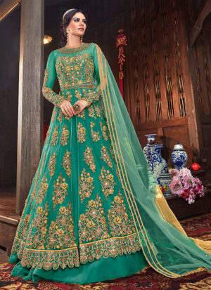 Sea Green and Gold Embroidered Lehenga/ Pant Style Anarkali
