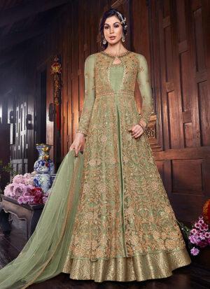 Green Embroidered Jacket Style Anarkali