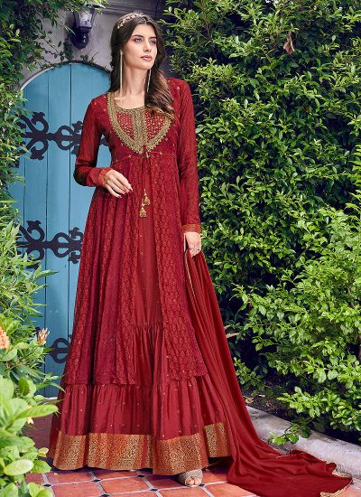 Red Embroidered Jacket Style Anarkali Gown