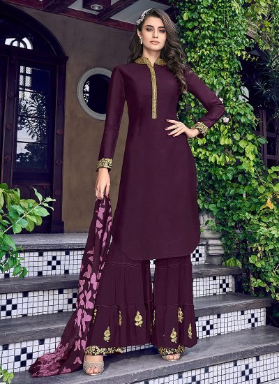 Purple and Gold Embroidered Sharara