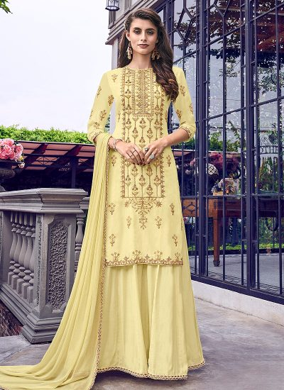 Light Yellow Embriodered Jacket Style Gown