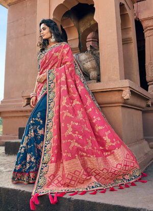 Pink and Blue Embroidered Saree