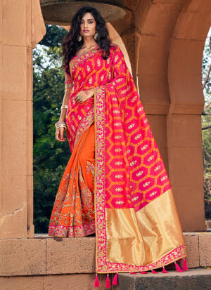 Orange and Pink Embroidered Saree
