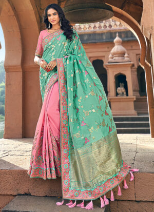 Light Pink and Green Embroidered Saree