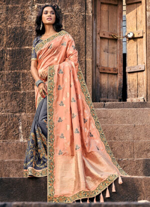 Peach and Grey Embroidered Saree