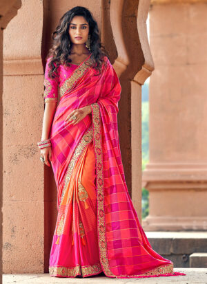 Pink and Peach Embroidered Saree