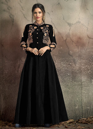 Black and Gold Embroidered Jacket Style Gown
