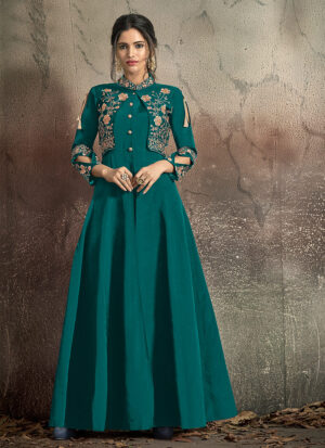 Sea Green and Gold Embroidered Jacket Style Gown