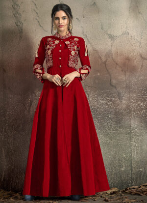 Red and Gold Embroidered Jacket Style Gown