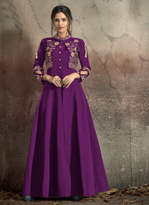 Purple and Gold Embroidered Jacket Style Gown