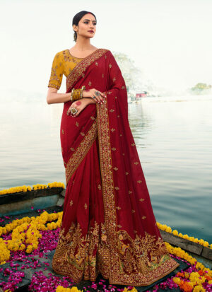 Red and Mustard Embroidered Saree