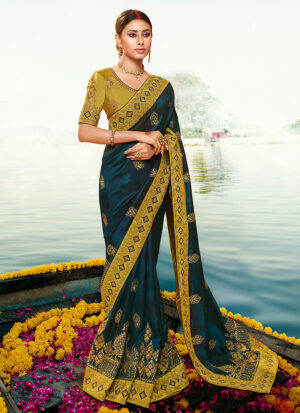 Teal Blue and Mustard  Embroidered Saree
