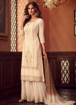 Cream and Gold Embroidered Sharara Suit