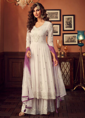 Offwhite and Purple Embroidered Sharara Suit