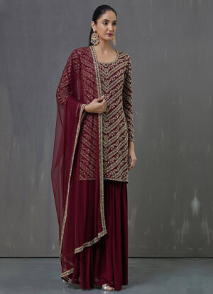 Red and Gold Embroidered Palazzo Suit