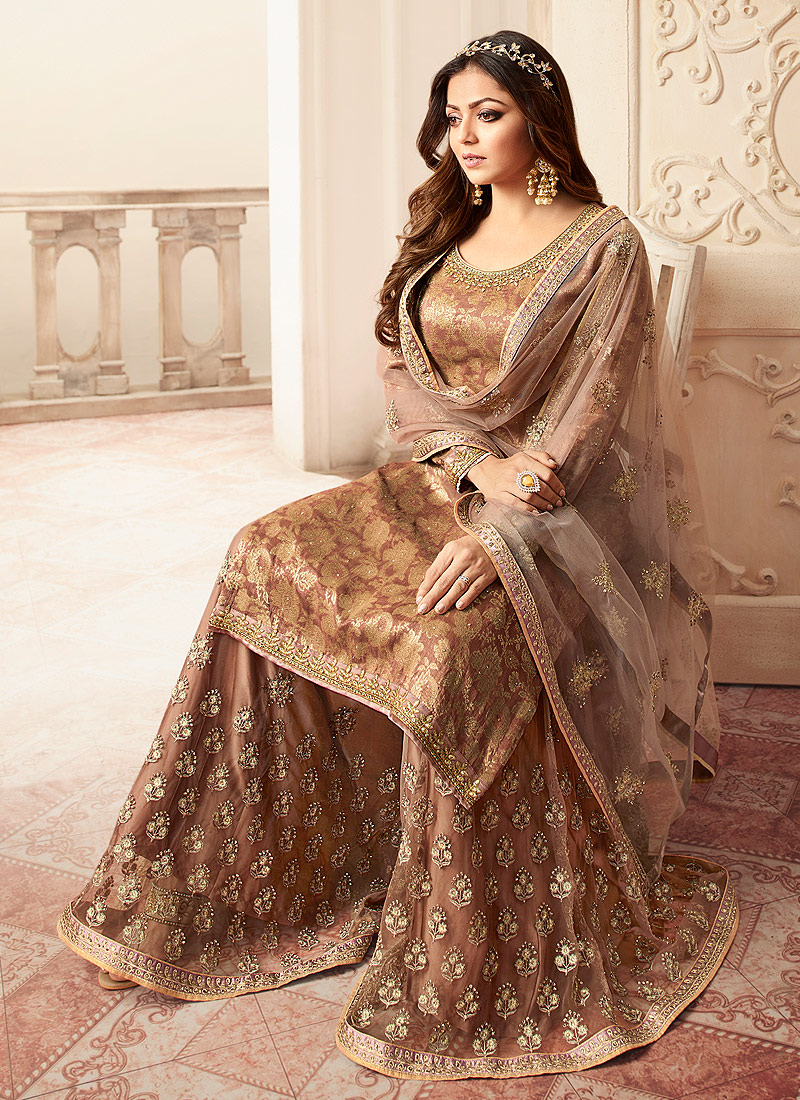 Grey and Gold Embroidered Palazzo Suit
