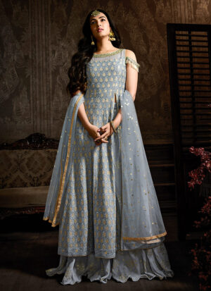 Blue Grey and Gold Embroidered Sharara Suit