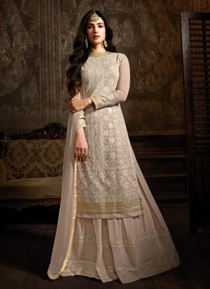 Blush Nude and Gold Embroidered  Sharara Suit