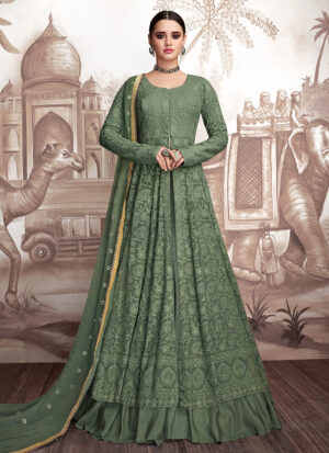 Green Embroidered Lehenga Anarkali