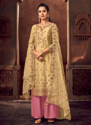 Beige and Pink Embroidered Palazzo Suit
