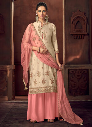 Offwhite and Pink Embroidered Palazzo Suit