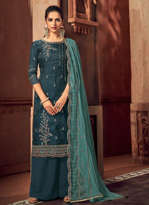 Grey and Aqua Embroidered Palazzo Suit